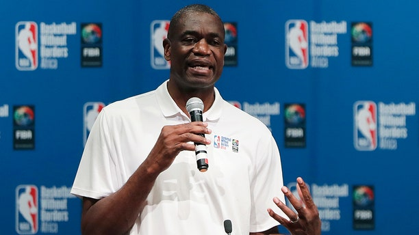 Dikembe Mutombo speaks during the opening ceremony of Basketball without Borders Africa in Johannesburg, South Africa, in 2018​​​​​. (AP)