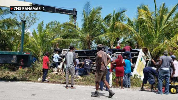 Four people were airlifted out of Rock Sound, on the island of Eleuthera, after a shore excursion bus carrying 32 Carnival Ecstasy passengers crashed just 20 minutes north of Princess Cays, the company said in a statement.
