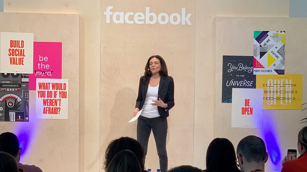 Facebook COO Sheryl Sandberg speaking at the social network's International Media Day at the company's headquarters in Menlo Park, Calif.