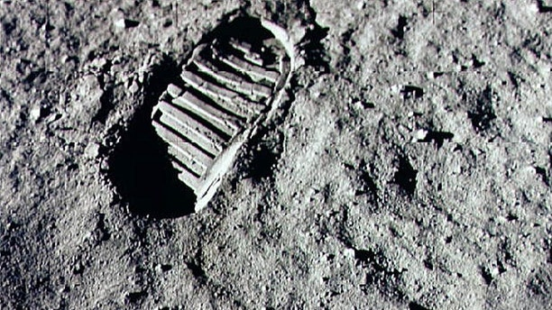 A footprint from the Apollo 11 mission on the lunar surface.