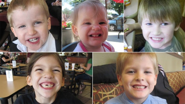 Timothy Jones Jr. is accused of killing his five children, who ranged in age from 1 to 8, and dumping their bodies off a dirt road in Alabama. The Lexington County Sheriff's Department released these photos of the victims. Top, left to right: Gabriel Jones, Abigail Elizabeth Jones, and Nahtahn Jones. Bottom, left to right: Merah Gracie Jones and Elias Jones.