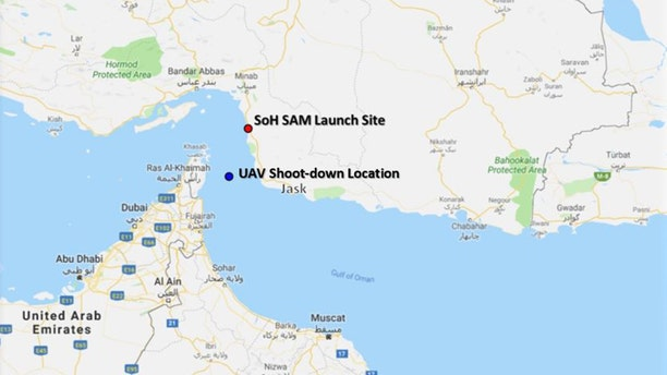 The location where the U.S. Navy RQ-4 was down down by a surface to air missile fired by Iran.