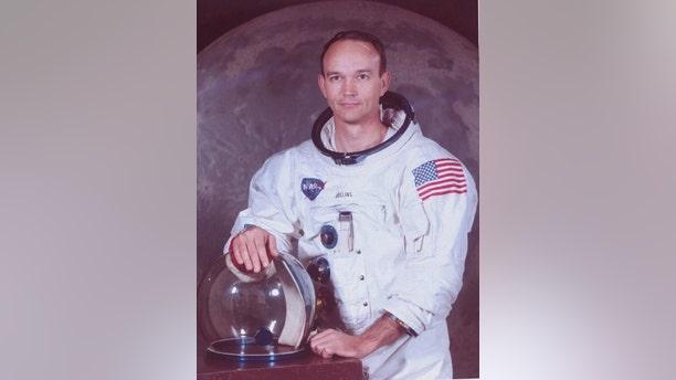 File photo - astronaut Michael Collins in Apollo spacesuit.