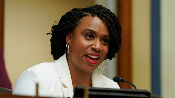 Rep. Ayanna Pressley, seen here in May 2019, slammed President Trump at the news conference.