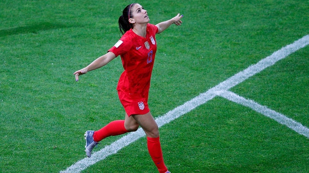 United States' Alex Morgan scored 5 goals in the team's 13-0 win over Thailand. (AP Photo/Francois Mori)
