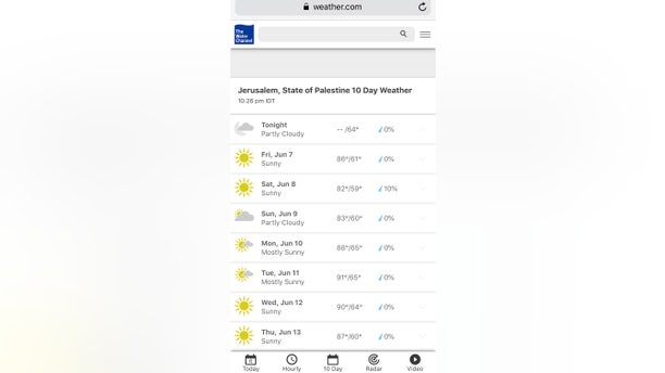 """Some activists upset by """"State of Palestine"""" classification for Jerusalem from The Weather Channel site"""