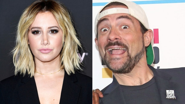 """Former Disney star Ashley Tisdale accused of Kevin Smith of hitting her car. The """"Clerks"""" director fired back, but they've since mended fences."""