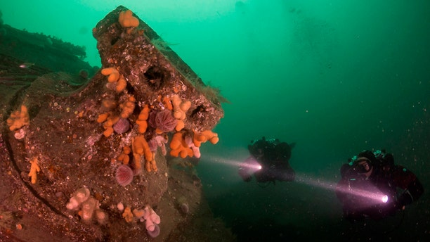 A winch on the SMS Karlsruhe. 2012. The wrecks of four WWI German battleships scuttled on the Orkney seabed - dreadnoughts Kronprinz Wilhelm, Konig, Markgraf, and the cruiser Karlsruhe - have been put up for sale on eBay. (Credit: SWNS)