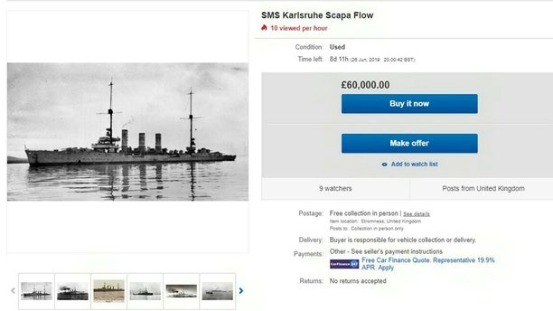 The eBay advert for the sale of the SMS Karlsruhe Scapa Flow for £60,000. (Credit: SWNS, eBay)