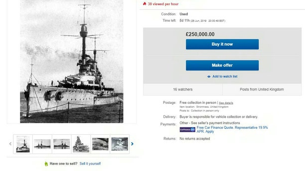 The eBay advert for the sale of the SMS Konig Scapa Flow for £250,000. (Credit: SWNS, eBay)
