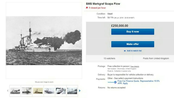 The eBay advert for the sale of the SMS Markgraf Scapa Flow for £250,000. (Credit: SWNS, eBay)