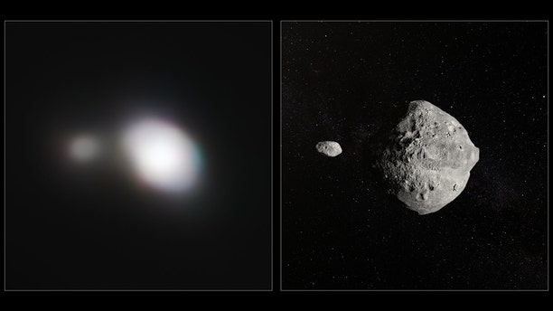 The left-hand image shows SPHERE observations of Asteroid 1999 KW4. The angular resolution in this image is equivalent to picking out a single building in New York — from Paris. An artist's impression of the asteroid pair is shown on the right. (ESO)