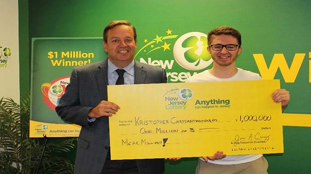 Kristopher Chrysanthopoulos, 20, won $1 million in the New Jersey Mega Millions.