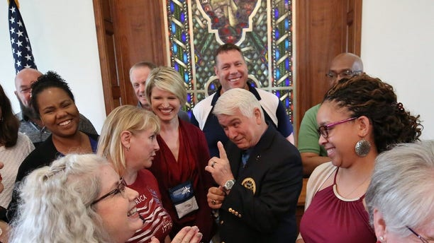 James McCloughan jokes with teachers after speaking to them at Freedoms Foundation at Valley Forge on June 19. (Photo by Darryl Moran)