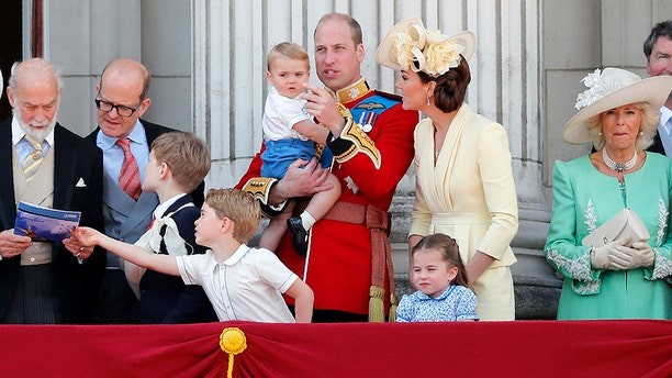 Prince William and Kate, the Duchess of Cambridge with their children attend the annual Trooping the Colour Ceremony in London, June 8, 2019. (AP Photo/Frank Augstein)