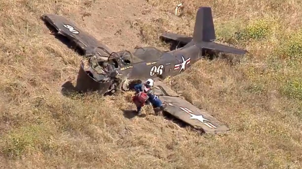The Los Angeles Fire Department said a paramedic found the pilot dead in the debris field where the aircraft crashed in the Santa Susana Mountains.