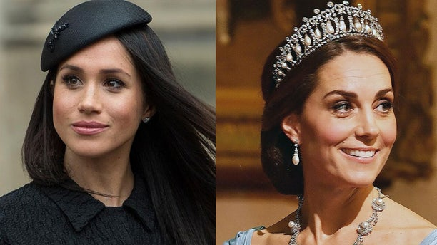 Duchess of Sussex Meghan Markle (left) and Duchess of Cambridge Kate Middleton