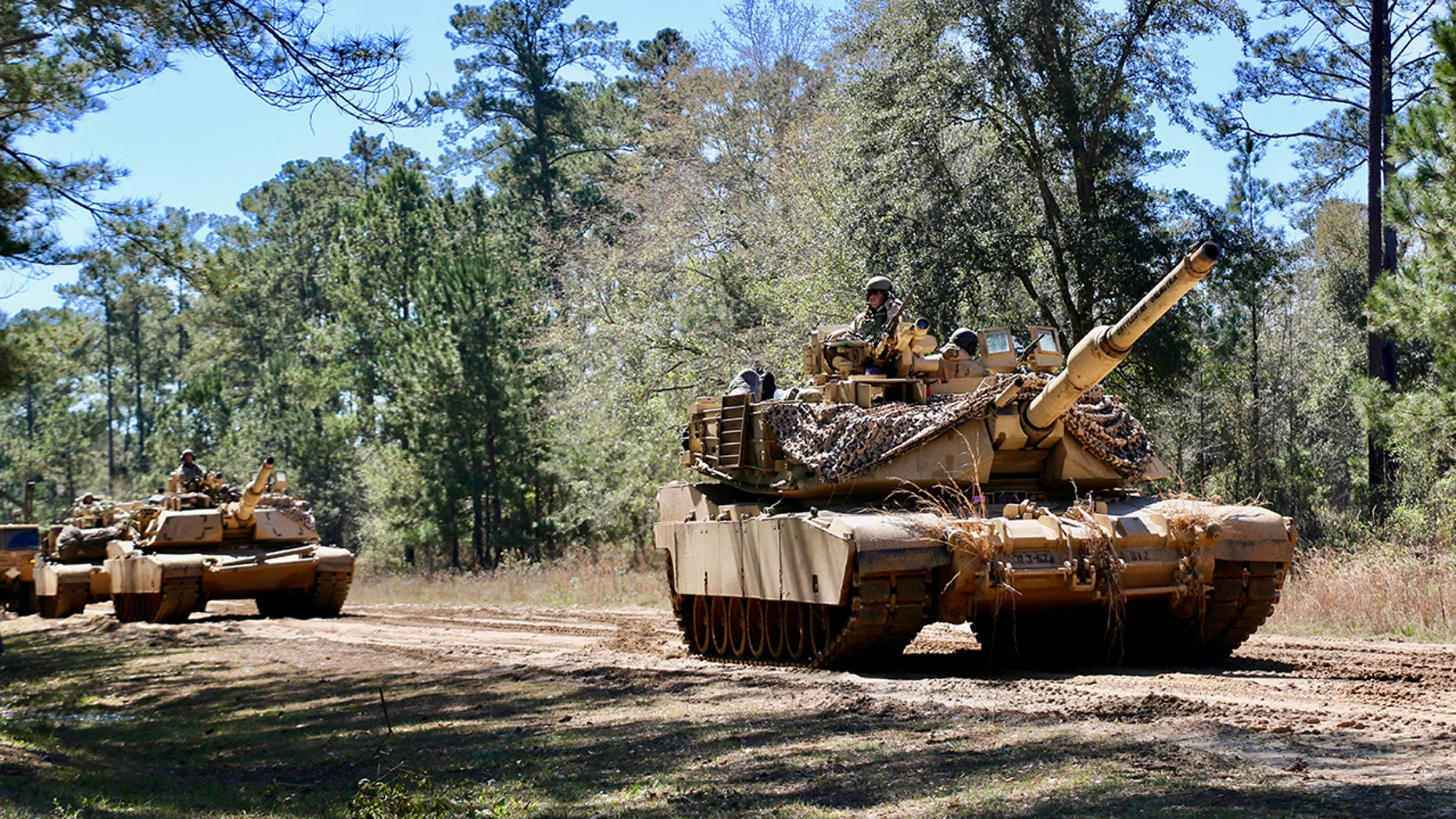 File photo - M1A1 Abrams main battle tanks assigned to 3rd Battalion, 67th Armored Regiment, 2nd Armored Brigade Combat Team, 3rd Infantry Division stage prior to a tactical movement during Spartan Focus, at Fort Stewart, Ga.