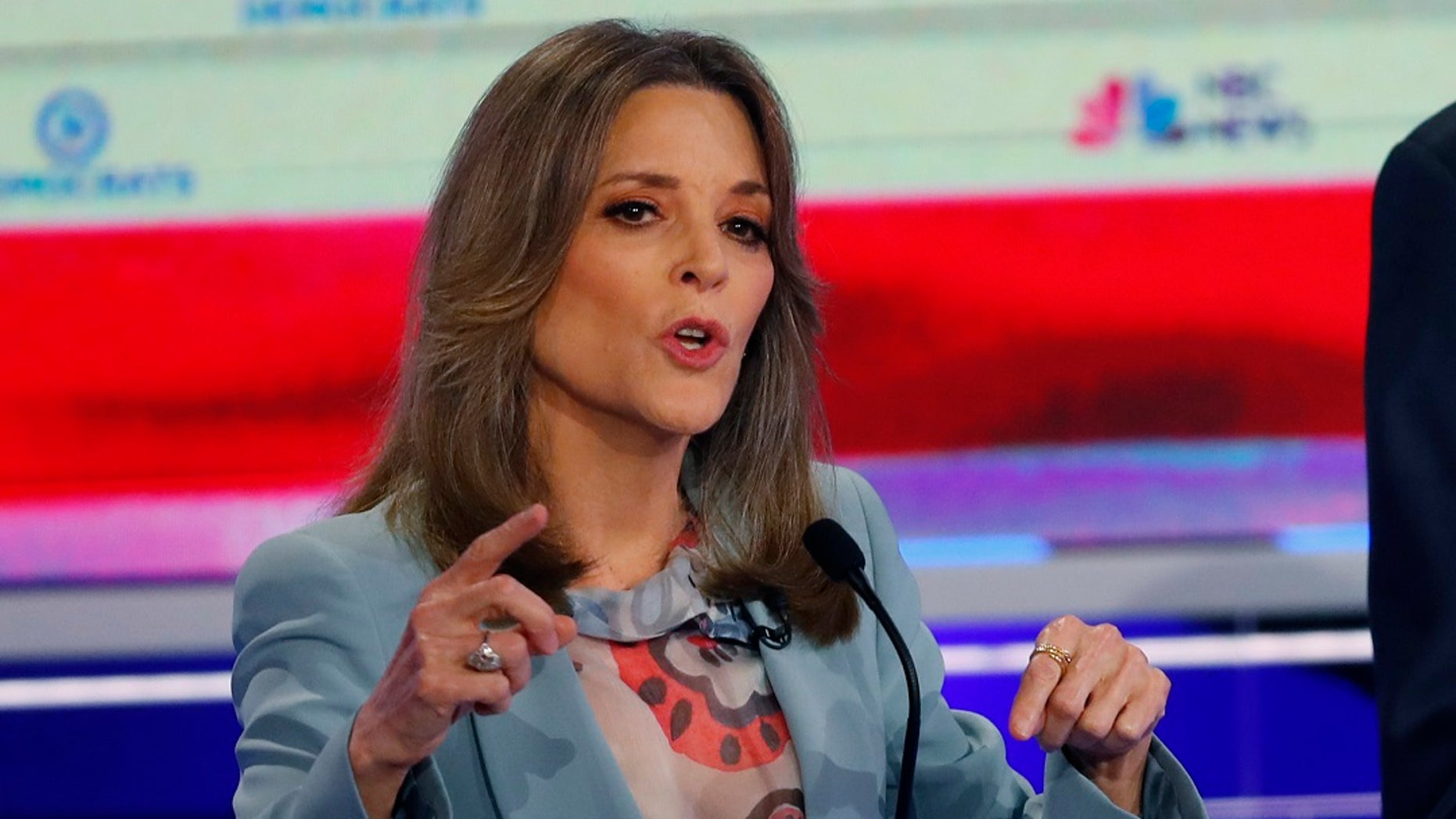 Democratic presidential candidate author Marianne Williamson speaks during the Democratic primary in Miami. (AP Photo/Wilfredo Lee)