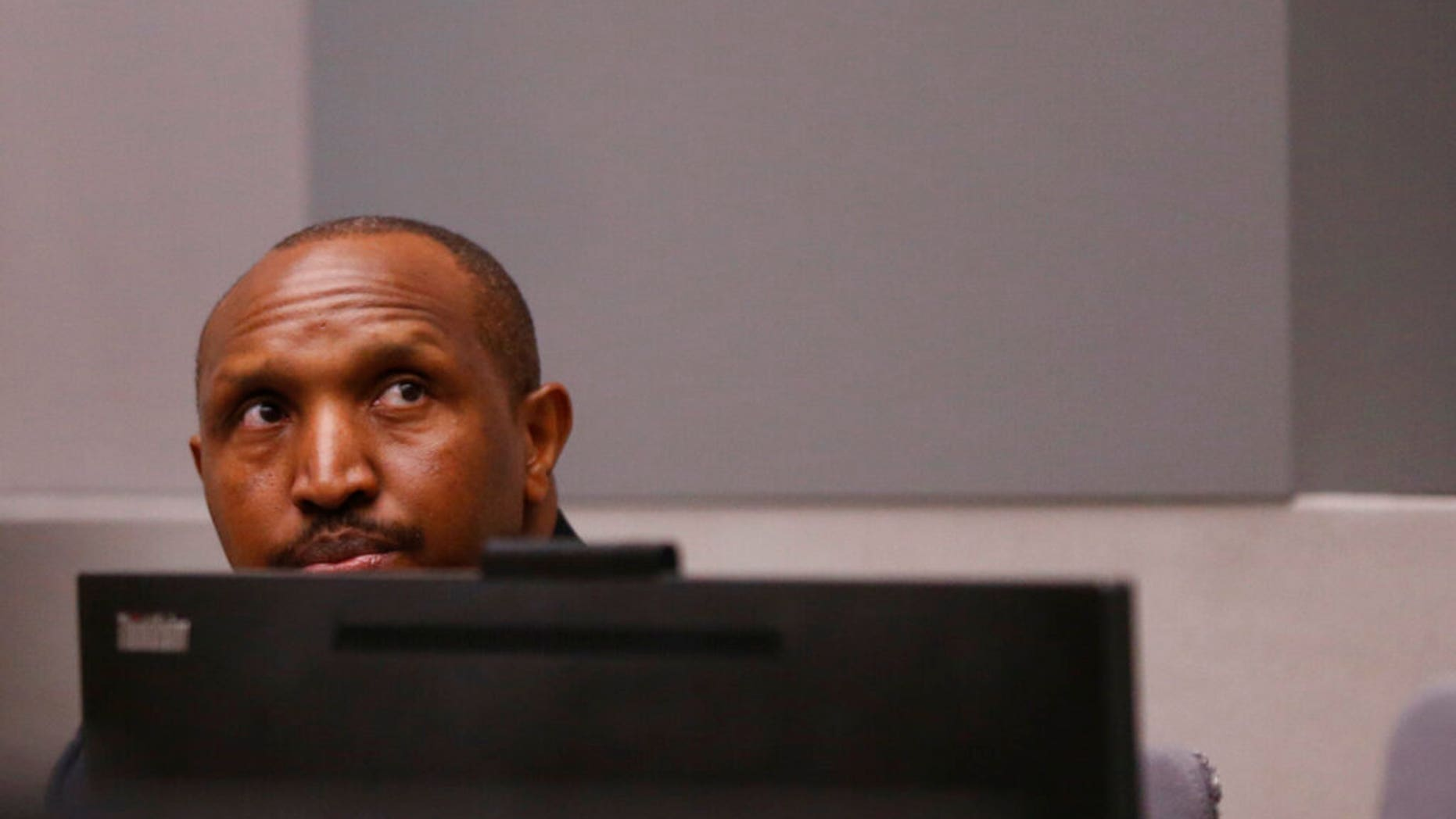 Congolese company commander Bosco Ntaganda sits in a courtroom of a ICC (International Criminal Court) during his hearing during a Hague in a Netherlands, Monday Jul 8, 2019.