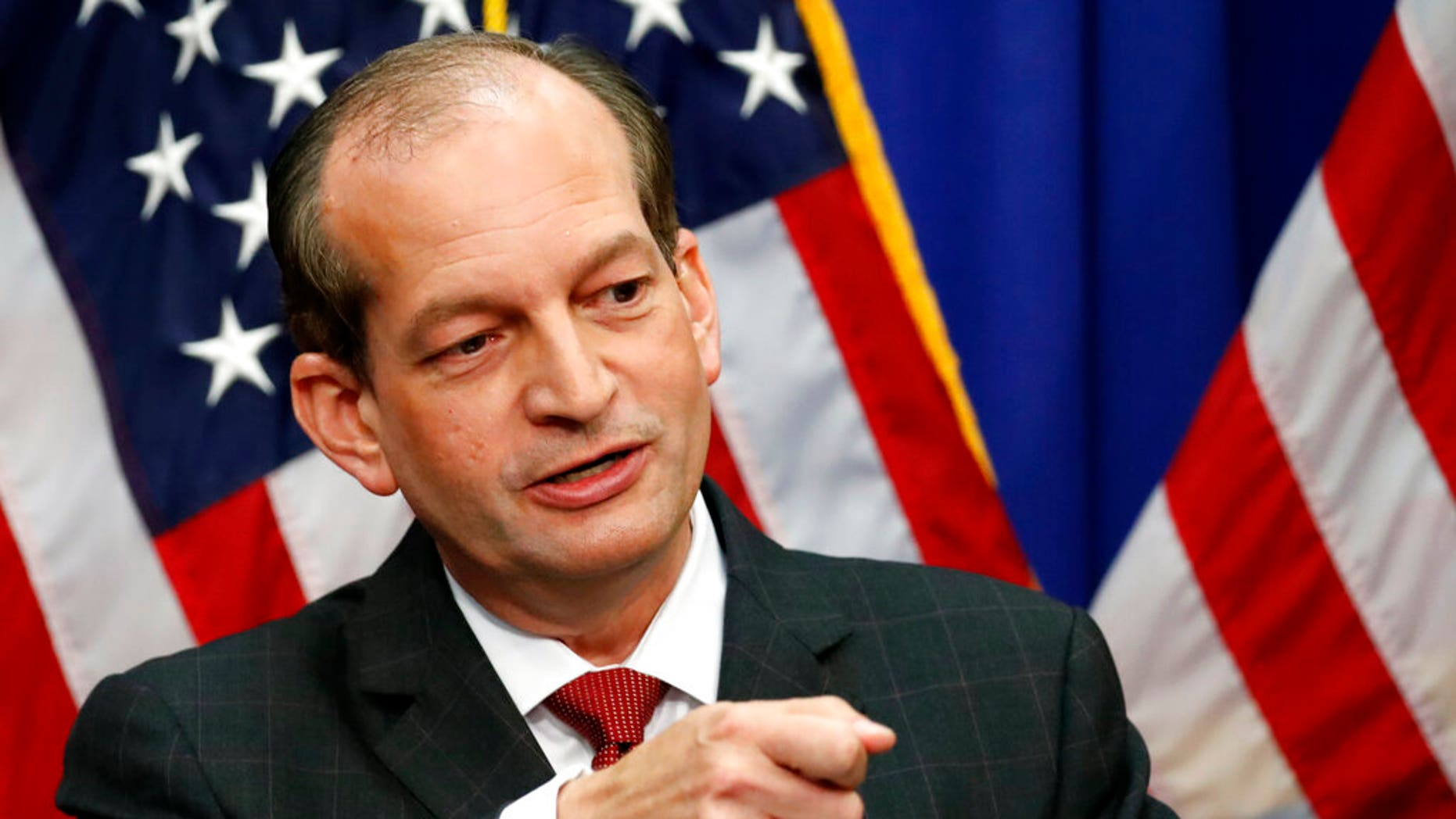 Labor Secretary Alex Acosta speaks during a media accessibility during a Department of Labor, Wednesday, Jul 10, 2019, in Washington. (AP Photo/Alex Brandon)