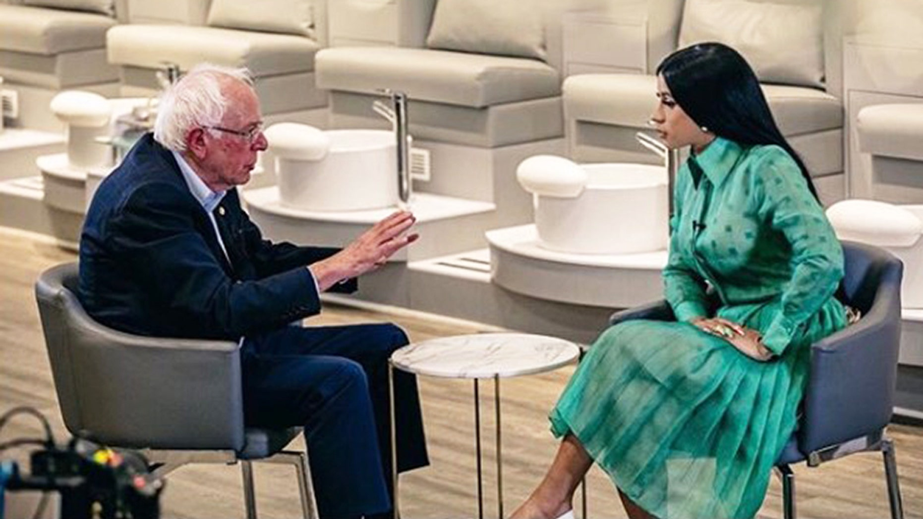 US Senator Bernie Sanders sits down with Cardi B in filmed discussion about politics. (Photo: Instagram/@iamcardib)