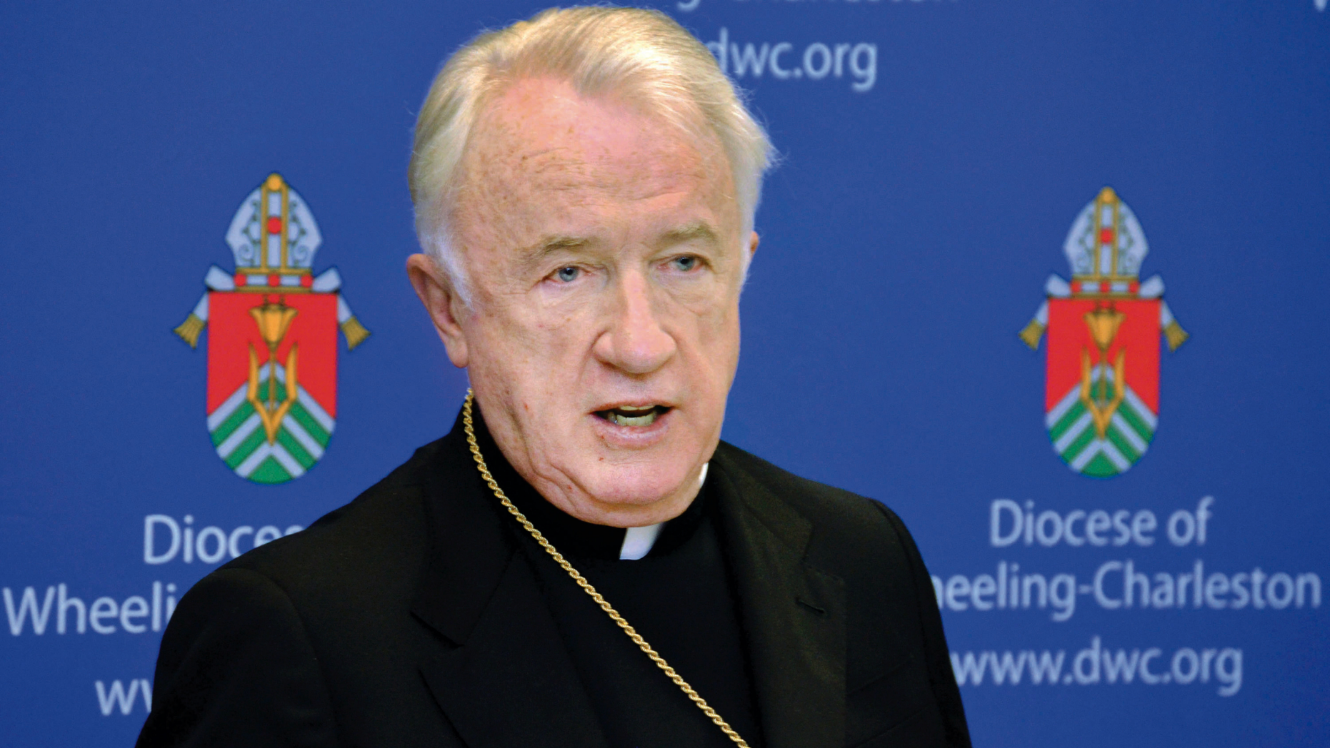 """FILE - A 2015 file photo shows West Virginia Bishop Michael J. Bransfield, then-bishop of the Roman Catholic Diocese of Wheeling-Charleston. In a news conference scheduled for Tuesday, July 23, 2019, West Virginia's Roman Catholic Diocese says it's set to discuss its """"future leadership,"""" 10 months after the resignation of Bransfield. (Scott McCloskey/The Intelligencer via AP, File)"""
