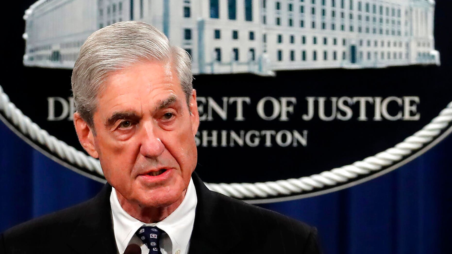 FILE - In this May 29, 2019, file photo, special counsel Robert Mueller speaks at the Department of Justice Wednesday, in Washington, about the Russia investigation. (AP Photo/Carolyn Kaster, File)