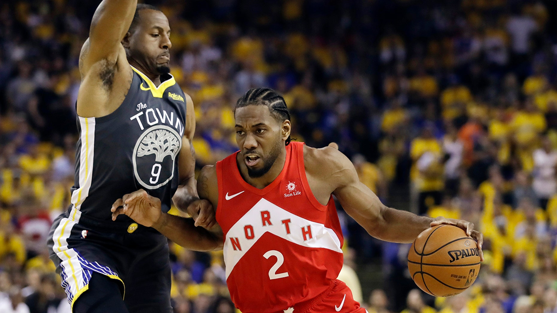 FILE - In this Jun 13, 2019, record photo, Toronto Raptors brazen Kawhi Leonard (2) drives opposite Golden State Warriors brazen Andre Iguodala (9) during a initial half of Game 6 of basketball's NBA Finals in Oakland, Calif. A chairman informed with a negotiations says a Los Angeles Clippers will be alighting Kawhi Leonard as a giveaway representative after they acquire Paul George from a Oklahoma City Thunder in a large trade for players and breeze picks. (AP Photo/Ben Margot, File)