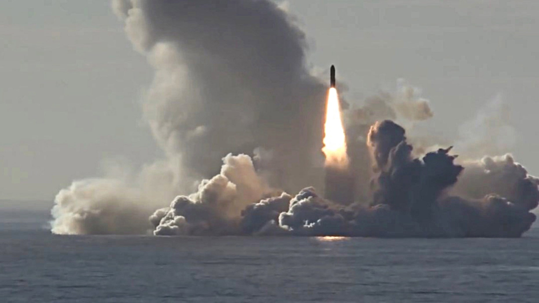 A Bulava missile launched by the Russian Navy Northern Fleet's Project 955 Borei nuclear missile cruiser submarine Yuri Dolgoruky from the White Sea in May 2018.