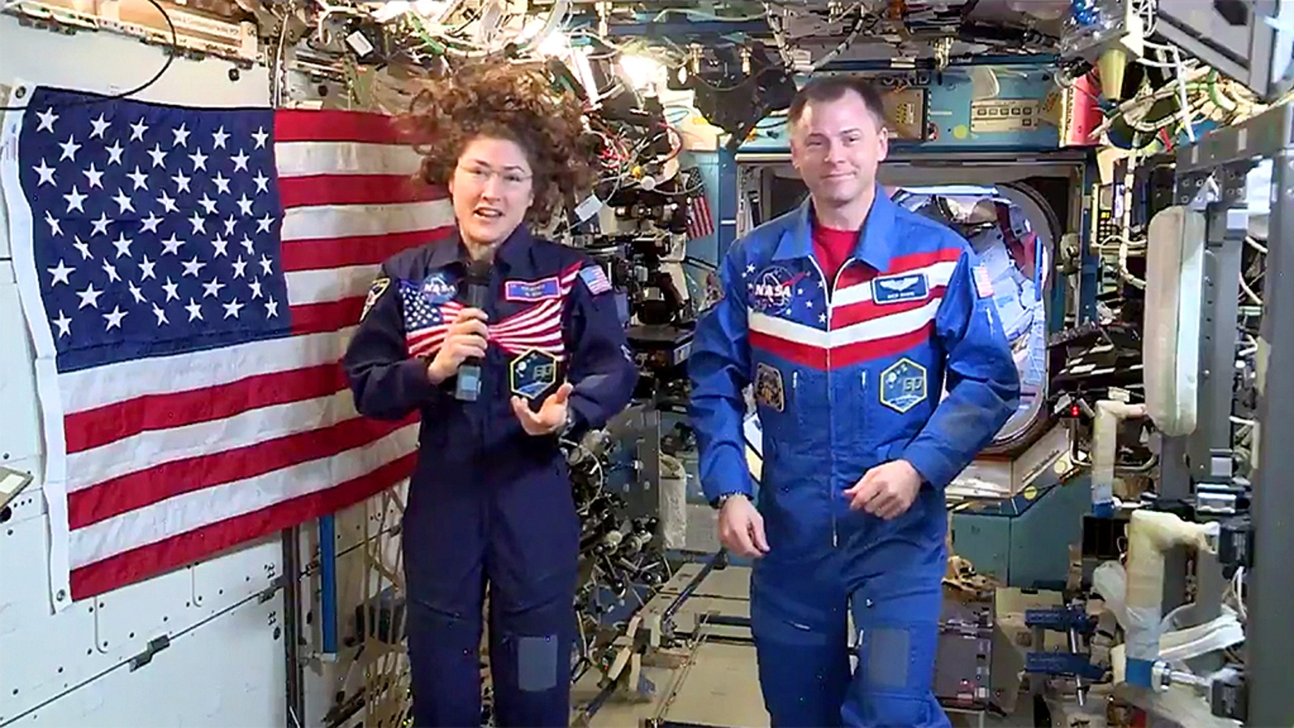 NASA astronauts Christina Koch and Nick Hague delivered their Independence Day message from the International Space Station.