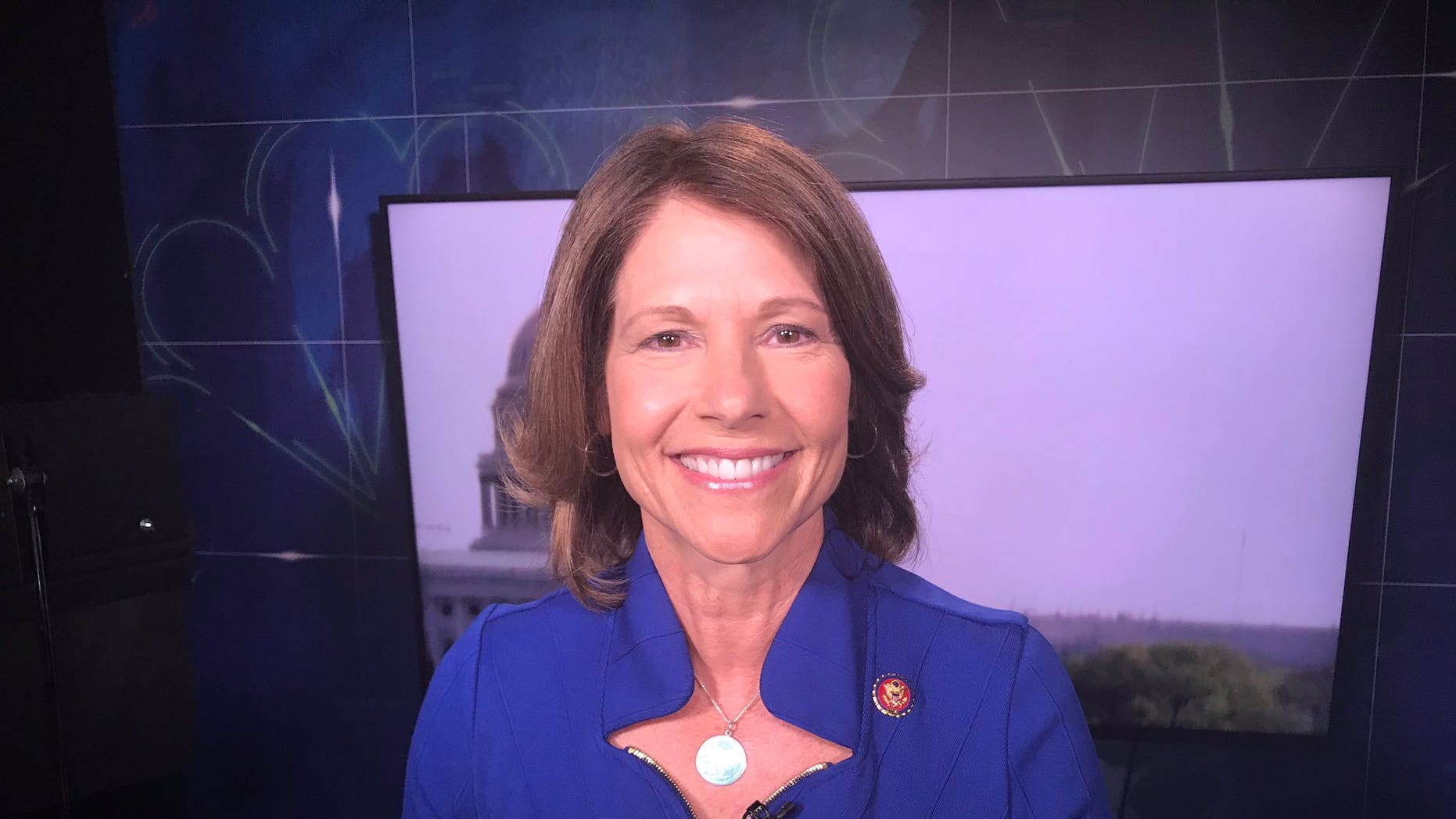 Rep. Cheri Bustos seen before a June interview on MSNBC