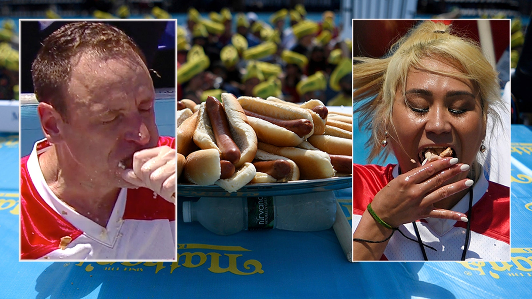 Hot dogs are displayed before the annual Nathan's Famous July Fourth hot dog eating contest, Thursday, July 4, 2019, in New York's Coney Island.