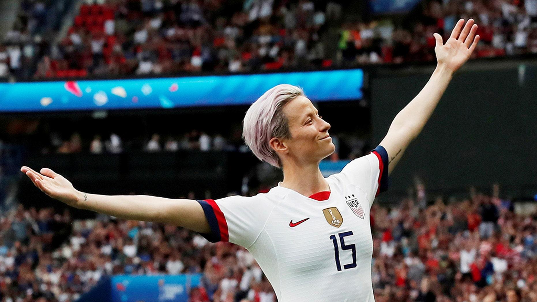 Megan Rapinoe of the U.S. celebrates scoring a goal last month. (Reuters)