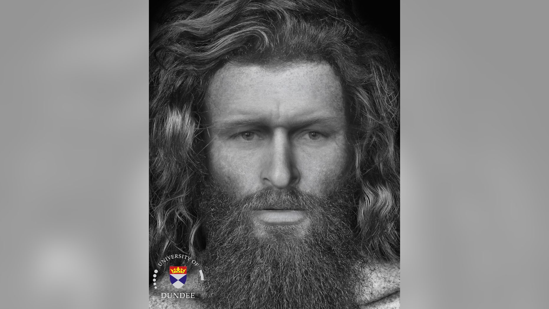 The digitally recreated face of the Pictish man.