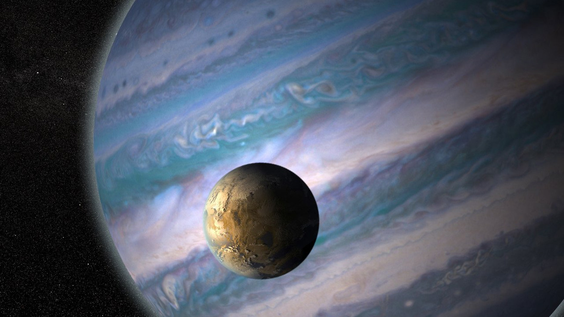 An artist's painting of a potentially habitable exomoon orbiting a hulk universe in a apart solar system.