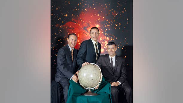 The Apollo 13 crew portrait - from left to right are Mission Commander Jim Lovell, Command Module pilot Jack Swigert and Lunar Module Pilot Fred Haise (NASA)