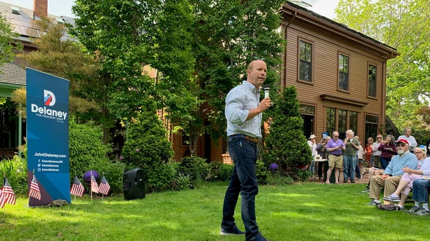 Former Rep. John Delaney of Maryland headlines a house party in Portsmouth, NH on May 27, 2019 as he campaigns for the Democratic presidential nomination