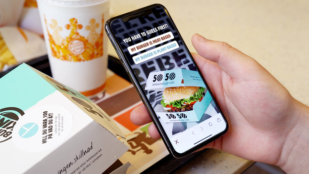 Customers who order from the 50/50 menu will find out whether they received real meat or a plant-based patty after scanning the box with the Burger King app.