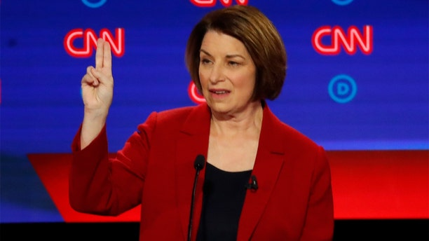 Sen. Amy Klobuchar, D-Minn., speaks during the first of two Democratic presidential primary debates hosted by CNN Tuesday, July 30, 2019, at the Fox Theatre in Detroit. (Associated Press)