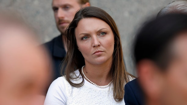 Courtney Wild, an unnamed accuser in the 2008 lawsuit against the Department of Justice for the secret plea deal that allowed Jeffrey Epstein to avoid charges. (AP Photo/Richard Drew)
