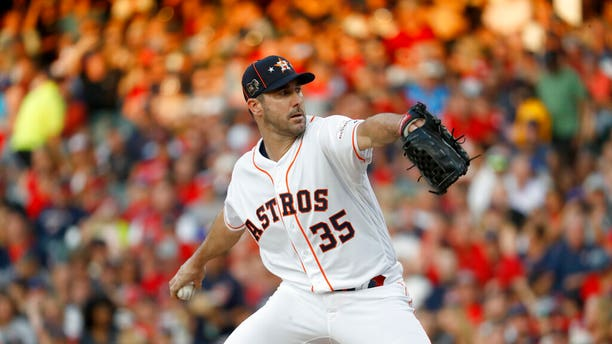 American League starting pitcher Justin Verlander, of the Houston Astros, throws during the first inning of the MLB baseball All-Star Game against the National League, Tuesday, July 9, 2019, in Cleveland.