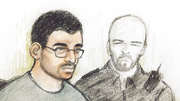 Court artist sketch of Hashem Abedi in the dock at Westminster Magistrates' Court where he is appearing following his extradition from Libya, in London, Thursday July 18, 2019.
