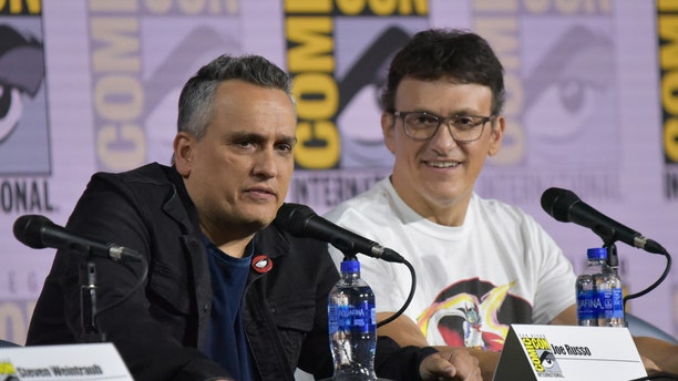 Joe Russo, left, and Anthony Russo participate in a conversation with the Russo Brothers on day two of Comic-Con on July 19, 2019 in San Diego, Calif.