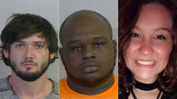 """Kendal Tyler Battles, left, and Joseph Brandon Nevels, center, have been charged with murder after the discovery of missing Marka """"Willoe"""" Watkins' body in a well Monday."""