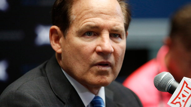 Kansas coach Les Miles speaks to the media on the first day of Big 12 NCAA college football media days Monday, July 15, 2019, at AT&T Stadium in Arlington, Texas. (AP Photo/David Kent)