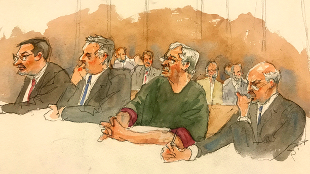 In this courtroom sketch, defendant Jeffrey Epstein, second from right, listens along with defense attorneys at a court hearing last month. (Aggie Kenny via AP)