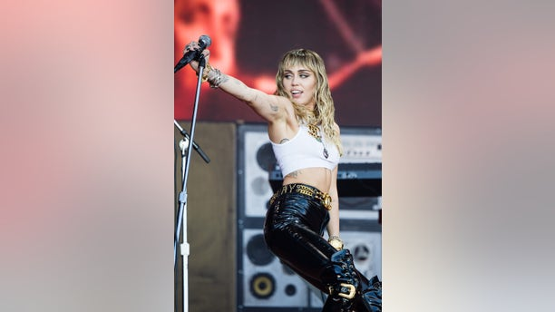 Miley Cyrus performs on The Pyramid Stage during day five of the Glastonbury Festival at Worthy Farm, Pilton on June 30, 2019, in Glastonbury, England.