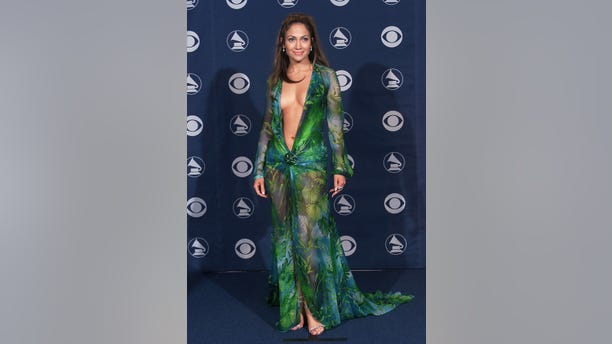 Jennifer Lopez in Versace at the 42nd Grammy Awards held in Los Angeles, CA on February 23, 2000.