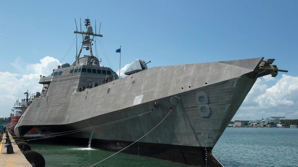 File photo (July 6, 2019) - The Independence-variant littoral combat ship USS Montgomery (LCS 8) sits pierside at Changi Naval Base, Singapore, after arriving for a rotational deployment.